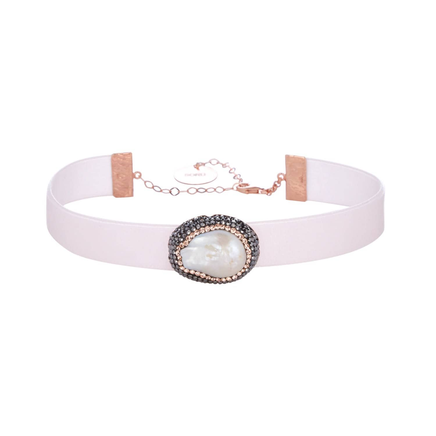 f90132e54c755 Baroque Pearl Pale Pink Choker Rose Gold by Soru Jewellery