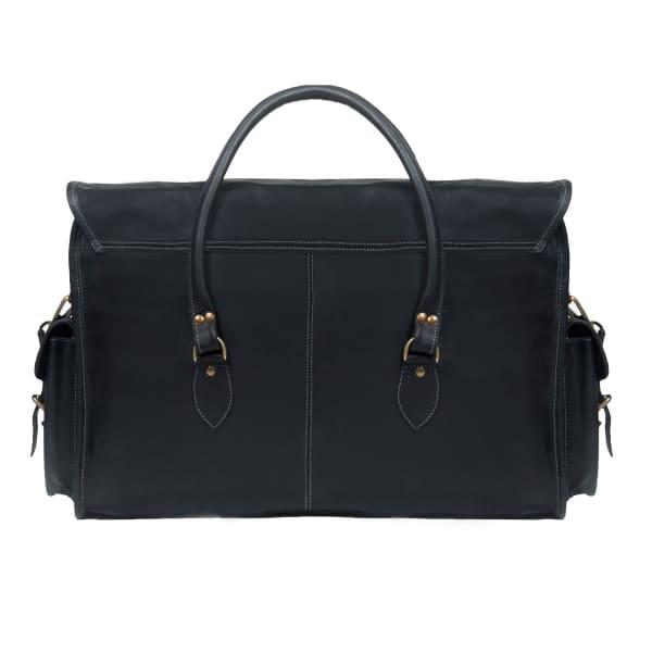 MAHI Leather Galley Bag Weekend/Overnight Holdall in Ebony