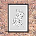 French Bulldog Geometric Print - Frank White On A Grey Background image