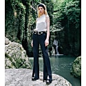 High-Rise Slit Trousers In Dark Blue image