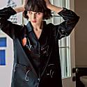 Face Line Art Printed Silk Pajamas Set - Black image