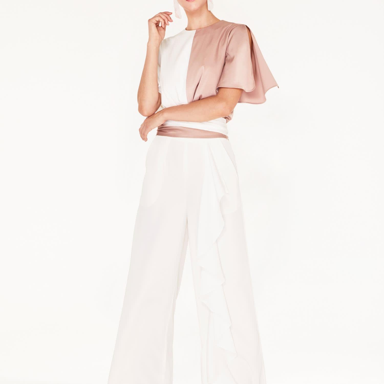 ec84b374564d66 Two-Tone Satin Wrap Top With Tie Waist & Split Sleeves In Dusty Pink ...