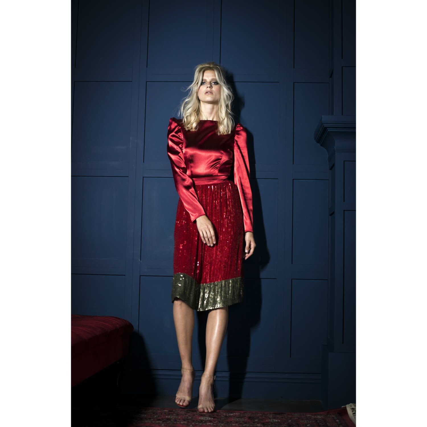 fea8fdb41d0 Red   Gold Sequin Dress image
