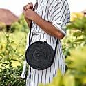 Black Rattan Camilla Bag - Palm Leaf image