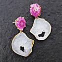 'Summer Love' Pink White Crystal Gemstone Gold Earrings image