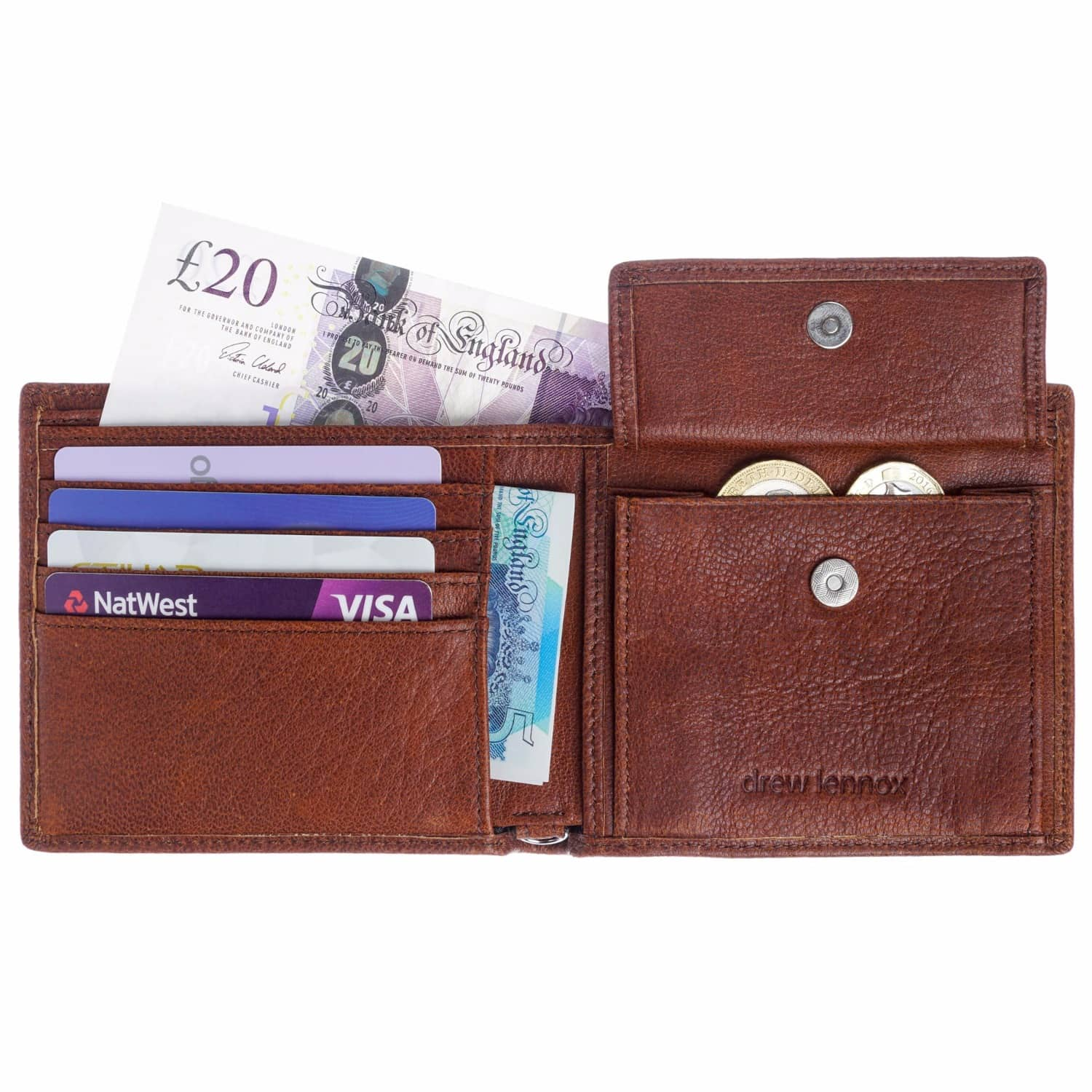 24667d7bc2 Luxury English Leather Mens Billfold Wallet In Rustic Brown by Drew Lennox