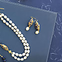 Rhinestones Bordered Lapis Lazuli With Freshwater Pearls Earrings image