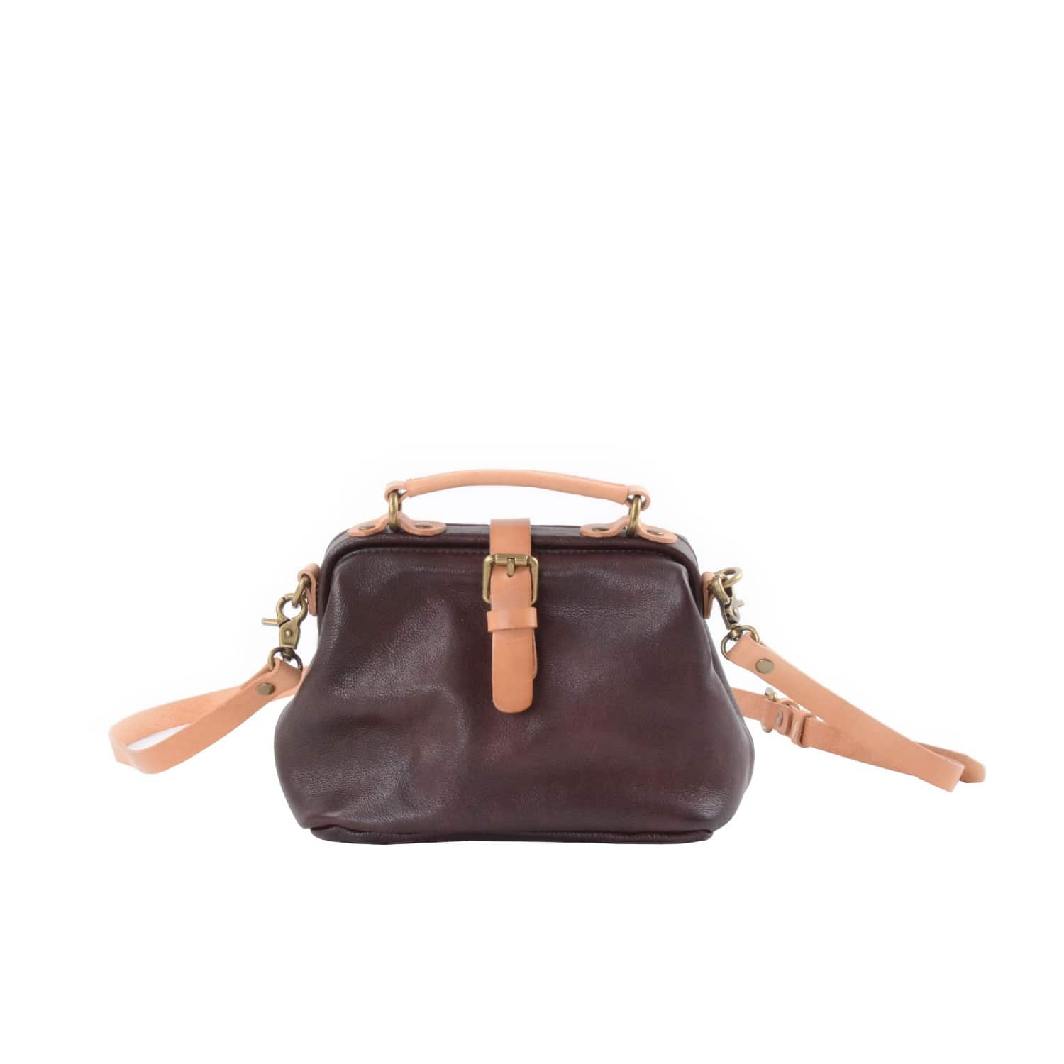 64e654bafd08 Flap Over Cross Body Leather Bag In Dark Brown