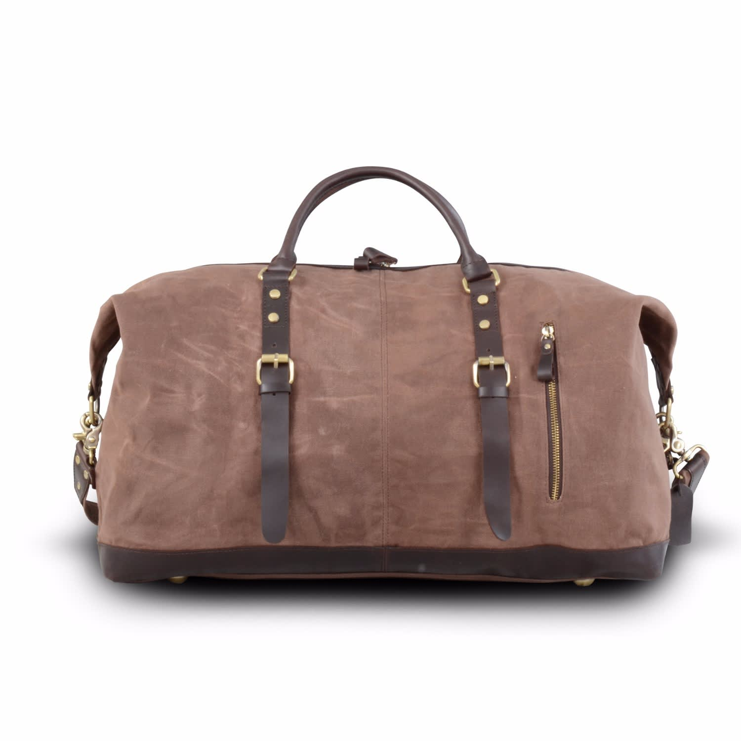 8095f1561f Handmade Waxed Canvas Travel Holdall Brown image