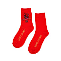 Red Bamboo Socks With Beaded Lobster Brooch image