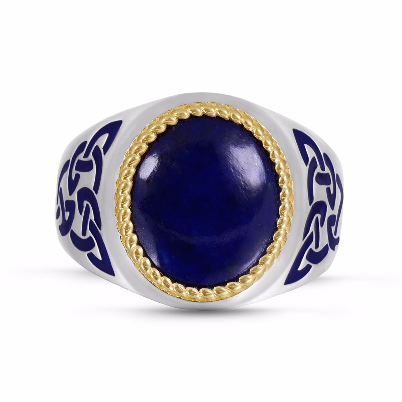 lapis lazuli stone ring lmj wolf badger