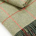 Green & Orange Tweed Pattern Wool Blanket image