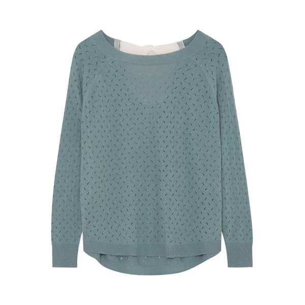 ILLE DE COCOS Fantasy Bow Sweater Bay Green & Chalk