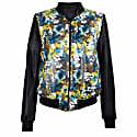 Floral Print Black Leather Bomber Jacket image