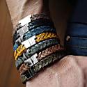 Mustard Silver Leather Bracelet Serac Bracelet image