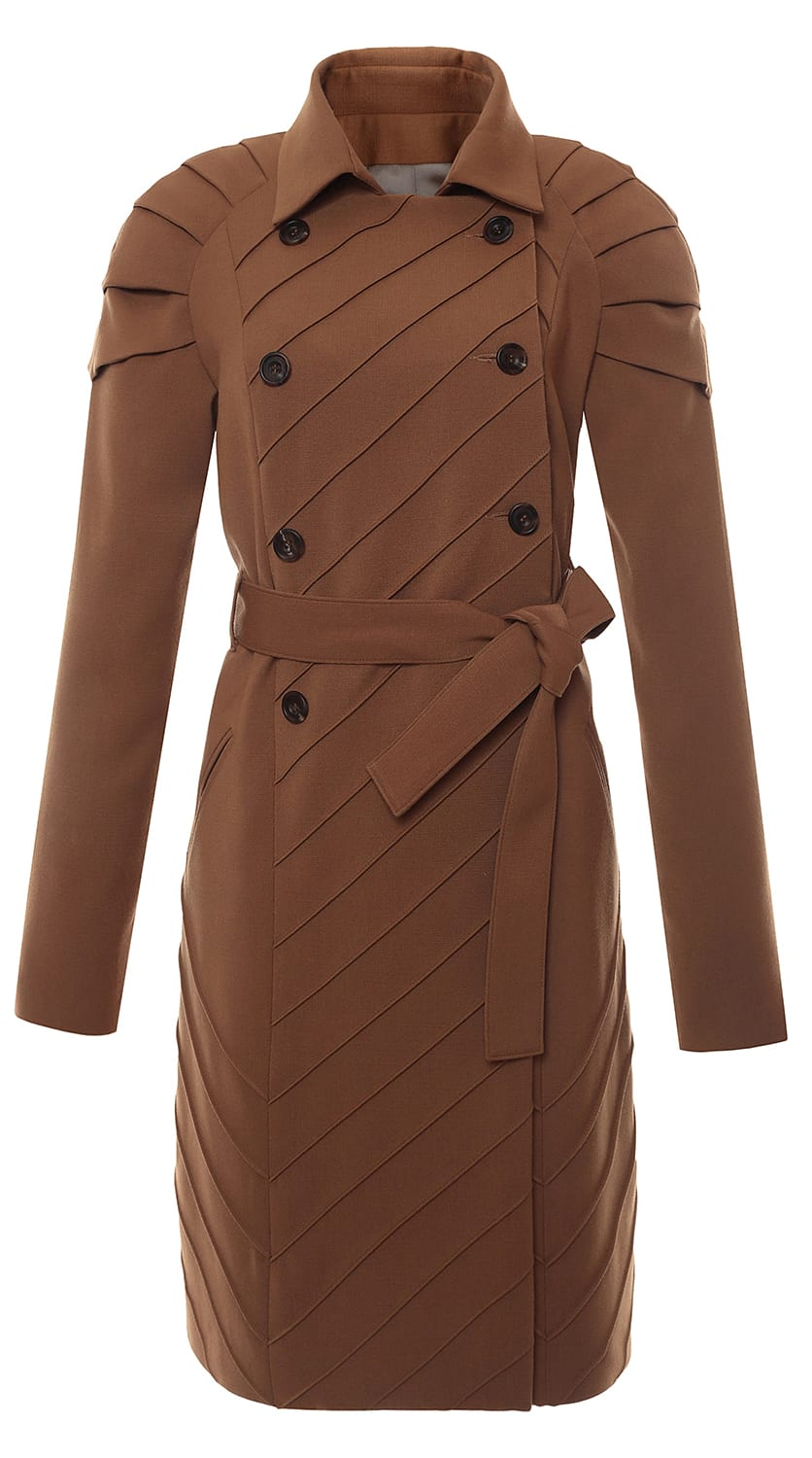 Pleated Shoulder Trench Coat Brown