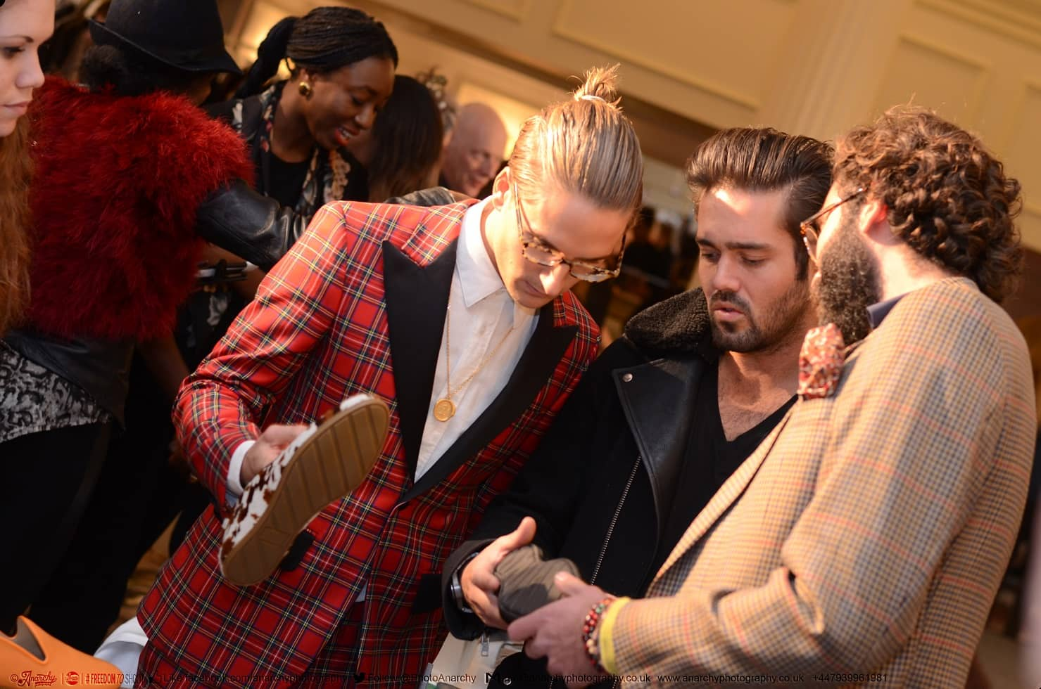 Proudlock, Spencer Matthews and Javier Goggins (looking at his brand Galet's footwear)