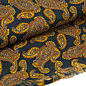 Petrol Blue Paisley Printed Wool & Cashmere Scarf image