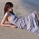 True Decadence Lilac Grey Plunge Front Lace Tiered Ruffle Maxi Dress image
