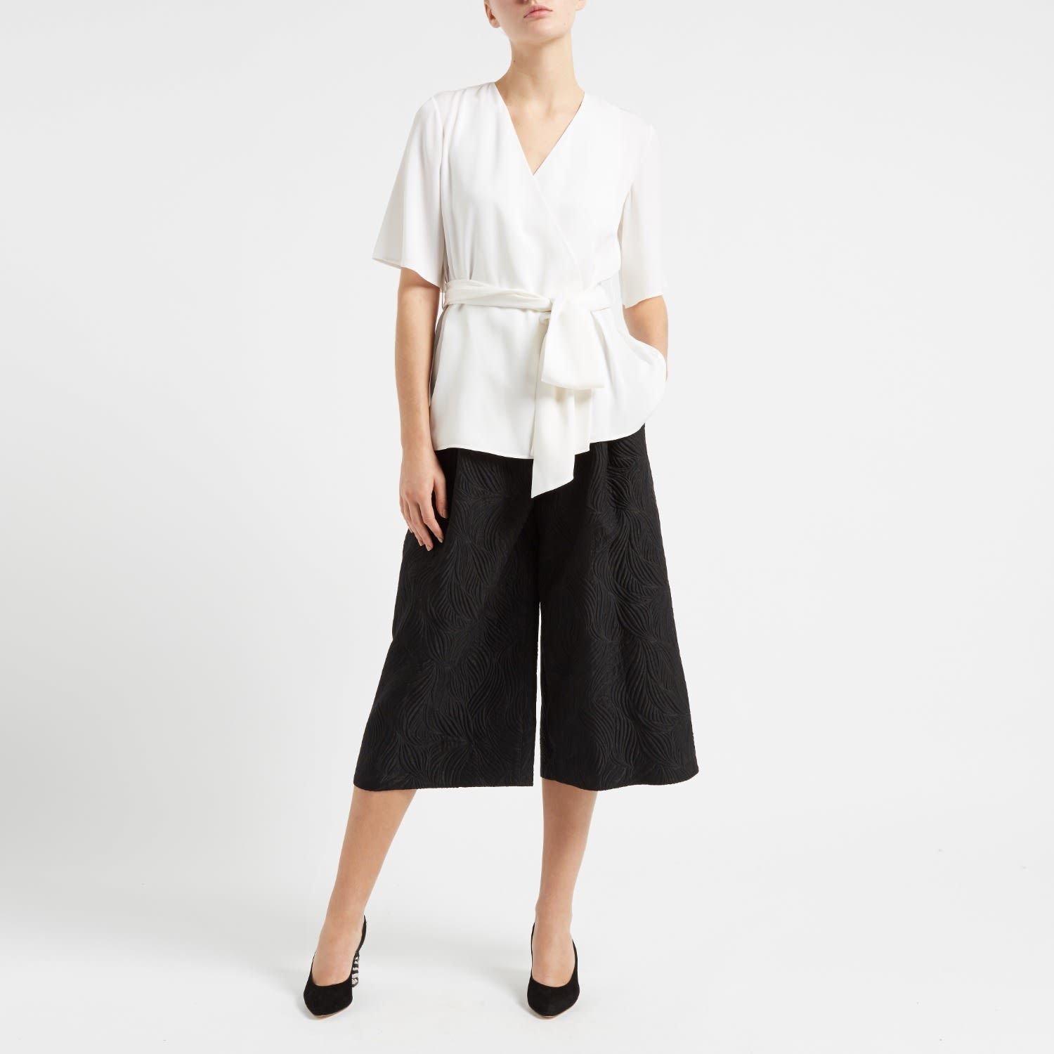 9959f7a4960ff Sonnet Belted Silk Wrap Top White image