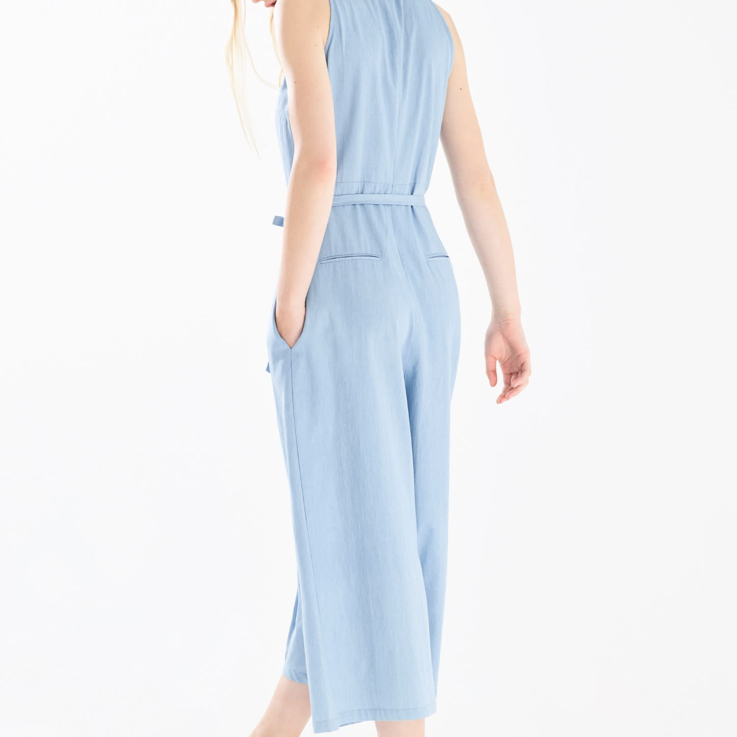 4e1a1958413 Denim Jumpsuit With Front Overlay   Side Tie (With Self Belt) In Light Blue