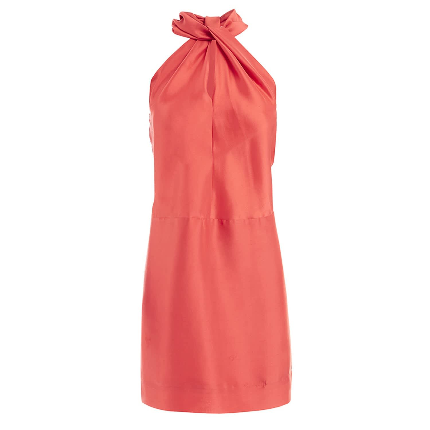 70e27ecaf3c94 Oona Coral Silk Halterneck Mini Dress image
