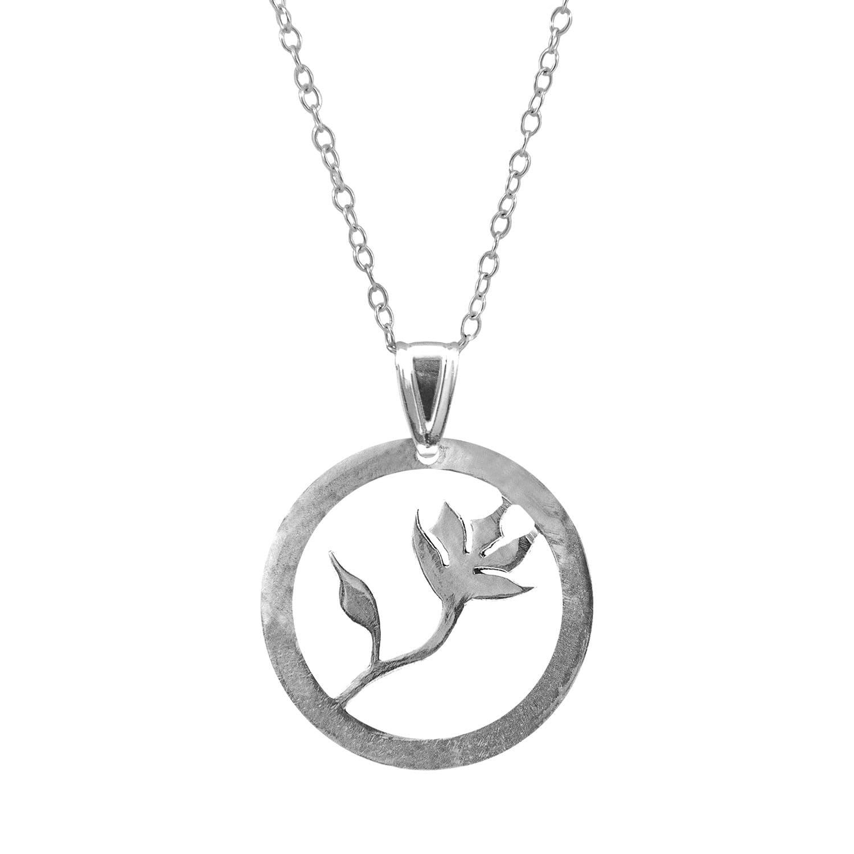 Black Flower Disc Necklace