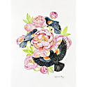Red Winged Blackbirds & Coral Peonies Watercolor Illustration Fine Art Print image