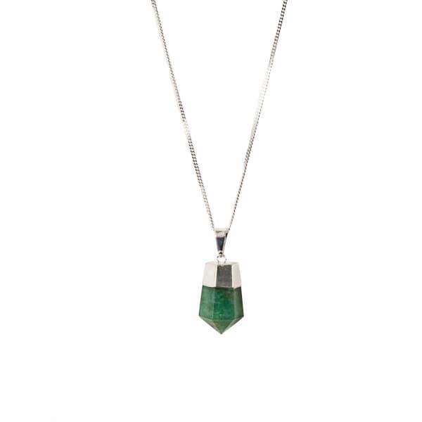 TIANA JEWEL Goddess Silver & Green Quartz Necklace