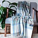 Recycled Wool Blanket In Stewart Muted Blue Tartan image