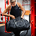 Gym Duffle In Black Canvas & Leather image