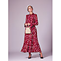 Red Lily Printed Red Silk Maxi Dress image