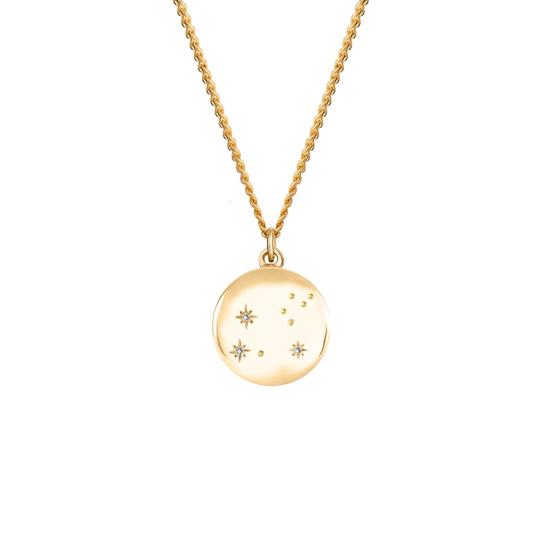 No 13 - Leo Zodiac Constellation Necklace Yellow Gold & Diamonds