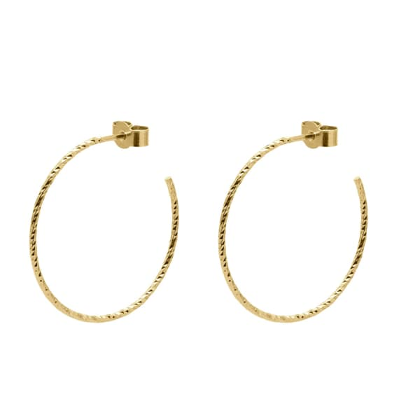 MYIA BONNER Gold Large Diamond Hoop Earrings