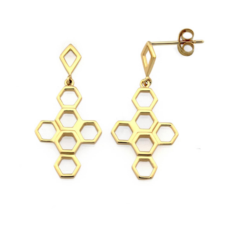 44a1f62747dbff The Vita Hive Earrings 9ct Gold   Monarc Jewellery   Wolf & Badger