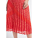 Lupita Coral Pleated Lace Midi Skirt image