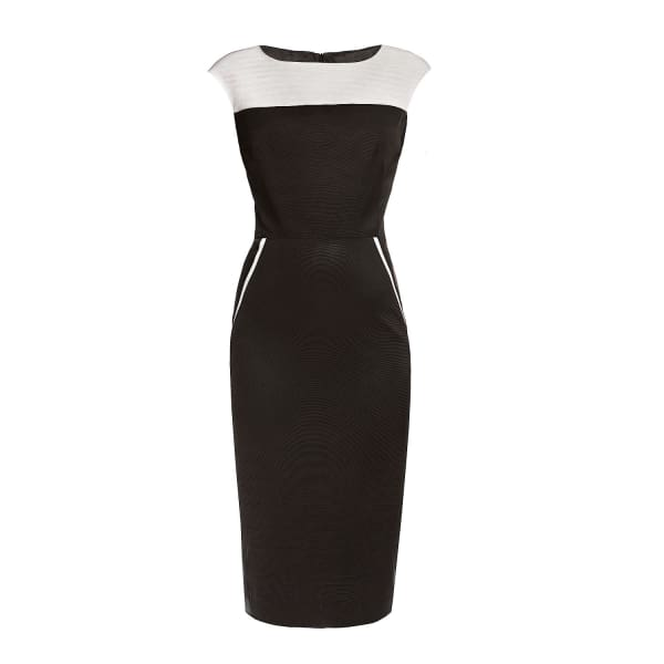 RUMOUR LONDON Kensington Black & Cream Ribbed Viscose Pencil Dress
