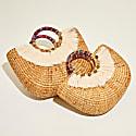 Woven Half Round Handbag With Tassel_M image