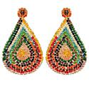 Large Multicolored Hand Made Crochet Tear Drop Earrings image
