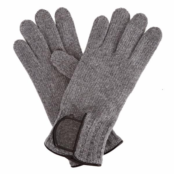 GIZELLE RENEE Theodore Grey Wool Gloves With Grey Cashmere