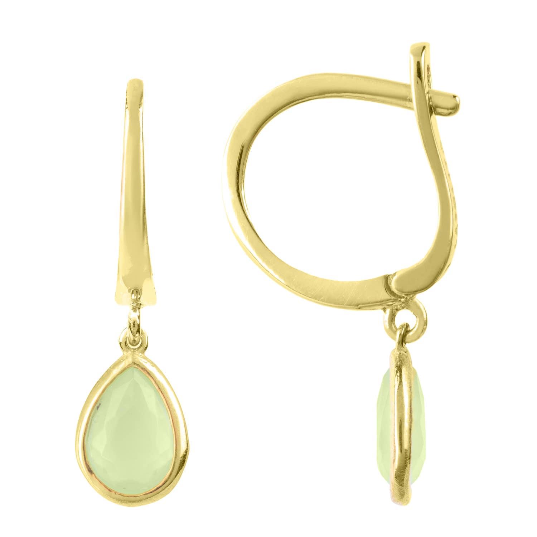 Latelita London Pisa Mini Teardrop Earrings Gold Aqua Chalcedony 7pYPlBU