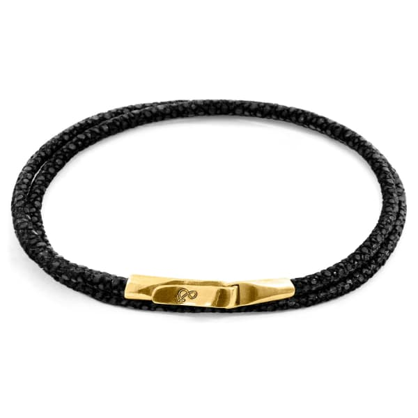 ANCHOR & CREW Raven Black Liverpool 9Ct Yellow Gold And Stingray Leather Bracelet