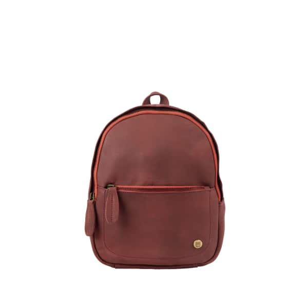 MAHI LEATHER Mini Backpack In Vintage Maroon Nubuck Suede Leather