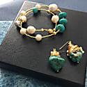 Freshwater Pearls With Turquoise Double Wrapped Bracelet Ab013 image
