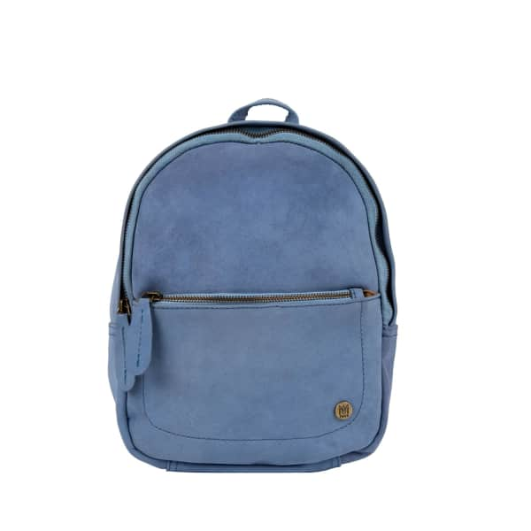 MAHI LEATHER Mini Backpack In Pastel Blue Suede Leather