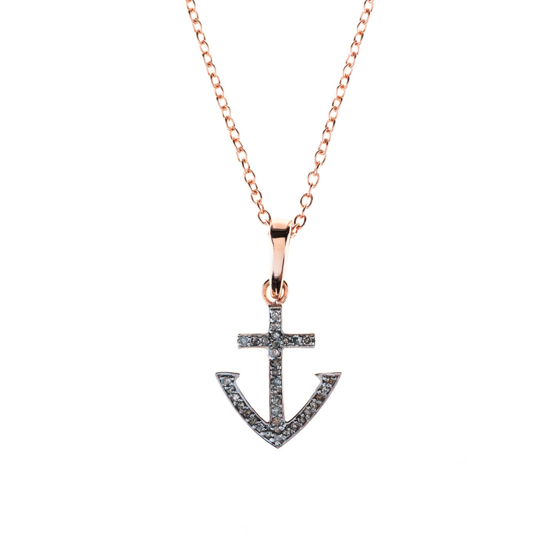 Latelita London Diamond Rose gold Anchor Necklace KbmdQ