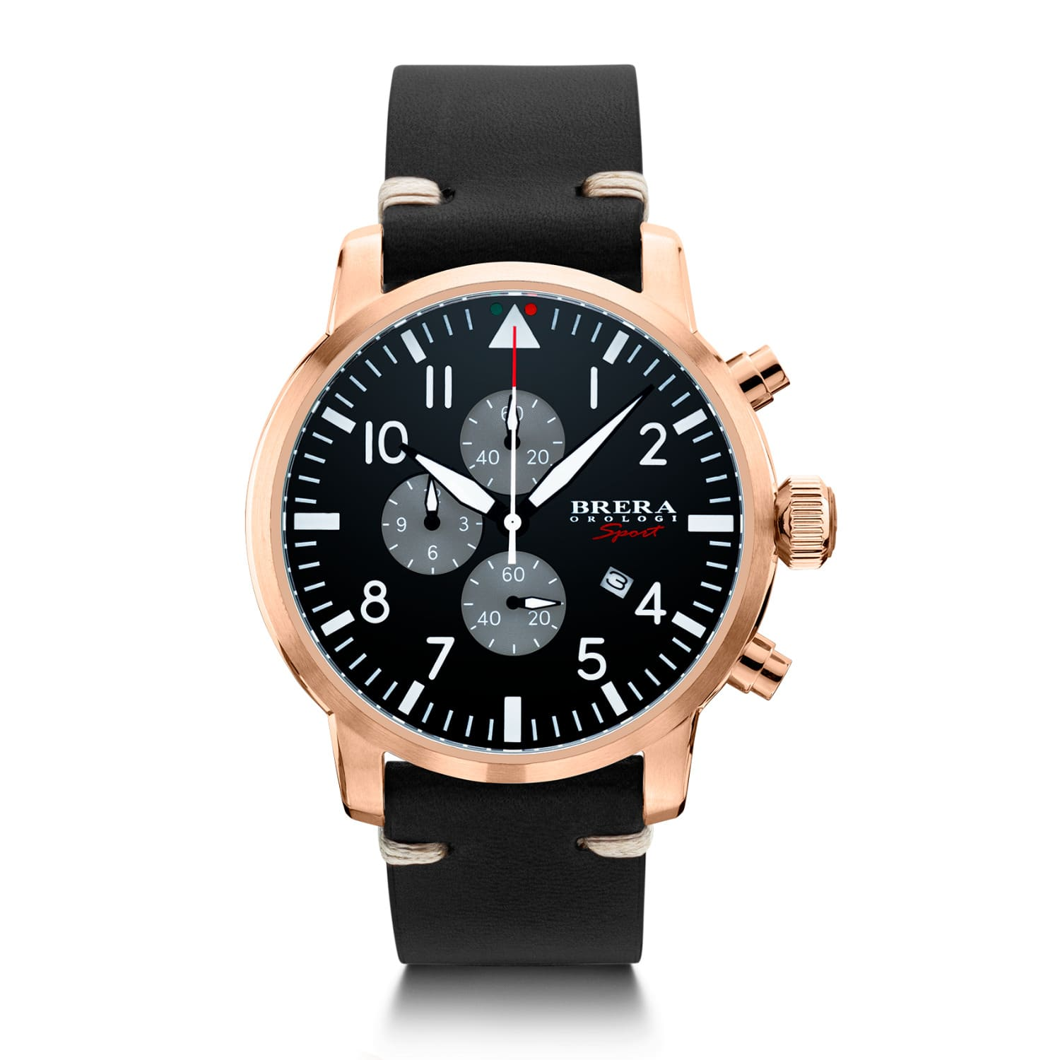 0b4b17662df Brera Sport Mens Tornado Pilot Watch Rose Gold Black Dial Black Leather  Strap