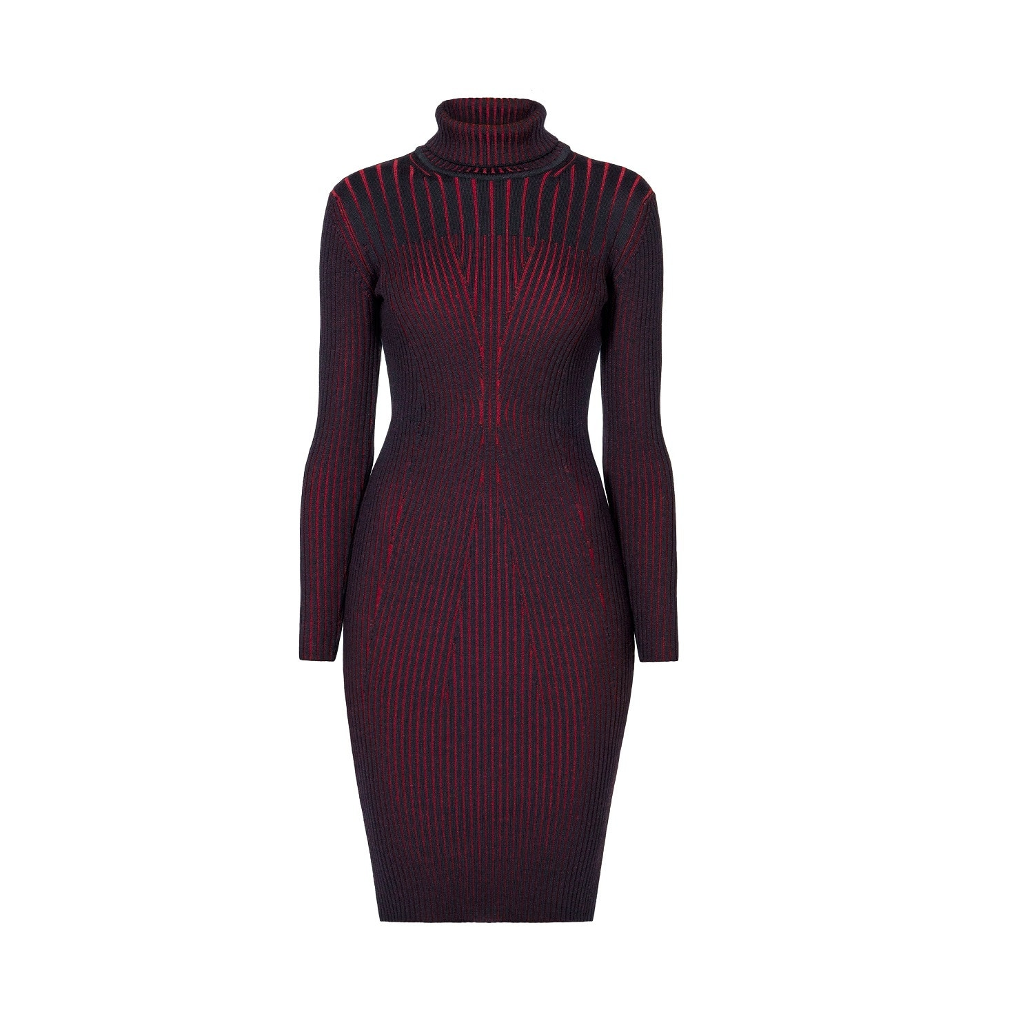 Rumour London - Cleo Black Two-Tone Ribbed Knit Dress