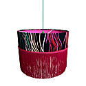 Grassed Printed Heavy Satin Lampshade With Double Fringing 20Cm Drop In Pink & Orange With Hot Pink Inner image