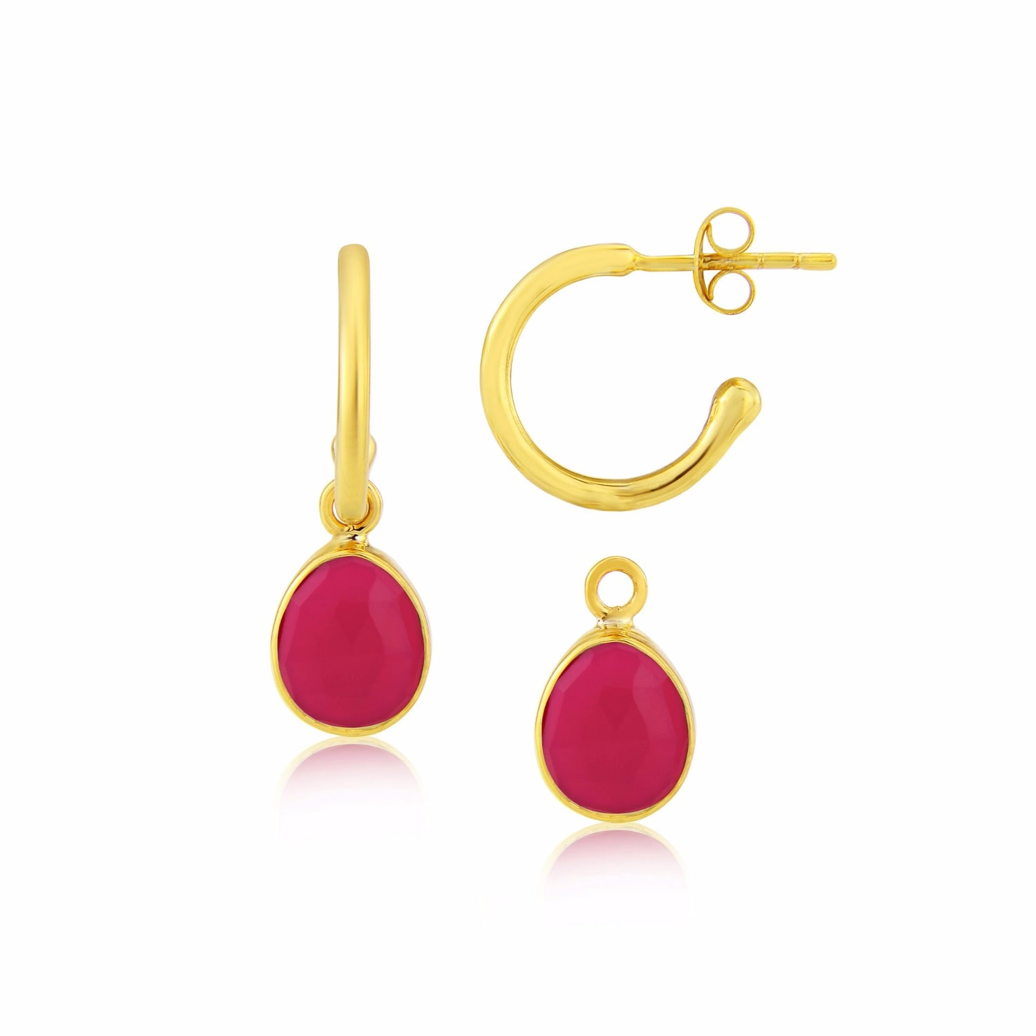 Auree Jewellery - Manhattan Gold & Fuchsia Pink Chalcedony Interchangeable Gemstone Earrings